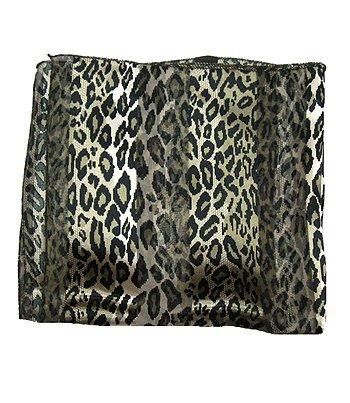 Woman Neckerchief Chiffon Scarf Leopard Dark Taupe