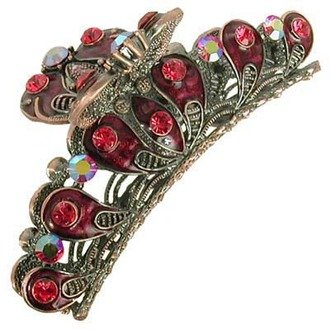 Austrian Crystal Hair Claw Clip Jewelry Ruby Red NEW