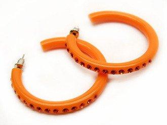Swarovski Crystal Earrings Hoop Solid Orange