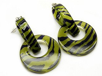 Lucite Linear Drop Earrings Animal Print Zebra Green