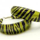 Lucite Hoop Earrings Animal Print Zebra Green