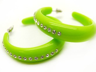 Crystal Studs Hoop Earrings Lucite Solid Lime Green