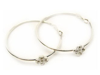 Crystal Studs Hoop Earrings Flower Silver White