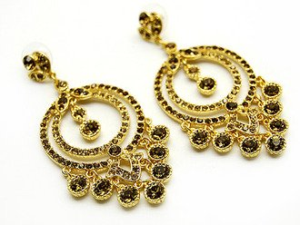 Austrian Crystal Earrings Linear Drop Circle Gold