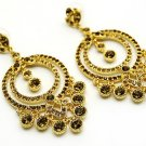 Austrian Crystal Earrings Linear Drop Circle Gold