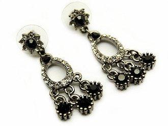 Austrian Crystal Earrings Linear Drop Chandelier Black