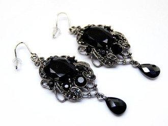 Austrian Crystal Earrings Linear Drop 15mm CZ Black