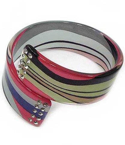 Crystal Stud Lucite Bangle Textured Imprinted Multi Red