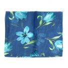 "Woman Chiffon Oblong Scarf Silk Floral Blue 14""x64"" NEW"