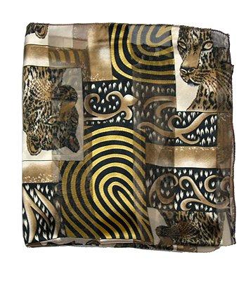 Woman Chiffon Scarf Animal Leopard Box Black Brown