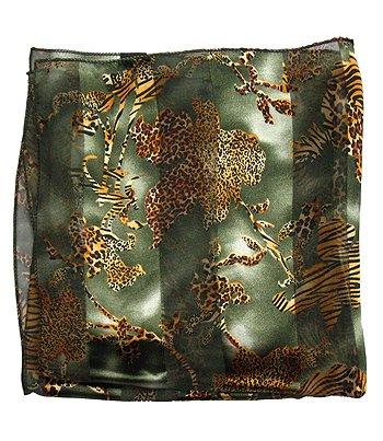 Woman Chiffon Scarf Multi Animal Design Olive Green