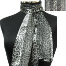 Woman Fashion Oblong Scarf Satin Animal Print Gray SM