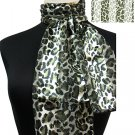Woman Fashion Oblong Scarf Satin Animal Print Sage