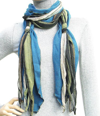 "Fashion Cold Weather Scarf Muffler Blue 8""x72"""