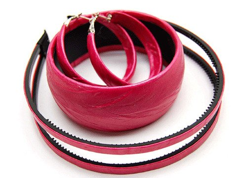 Woman Fashion Headband Bangle Earrings Set Fuchsia Red