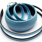 Woman Fashion Headband Bangle Earrings Set Blue