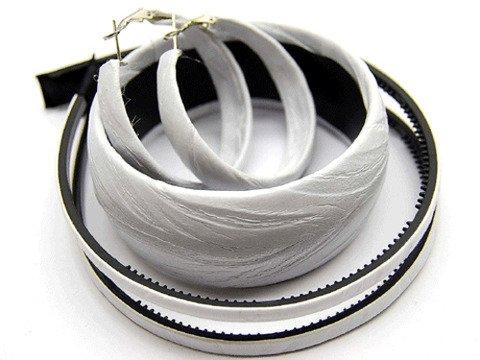 Woman Fashion Headband Bangle Earrings Set White