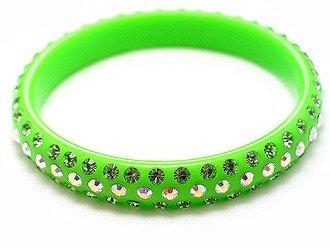 Swarovski Crystal Lucite Bangle Bracelet Solid Green