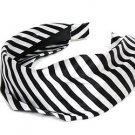 Fashion Woman Headband Satin Stripe White Black NEW