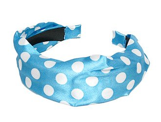 Fashion Woman Headband Satin Polka Dot Blue NEW