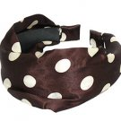 Fashion Woman Headband Satin Polka Dot Brown NEW