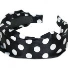Fashion Woman Headband Satin Polka Dot Black NEW