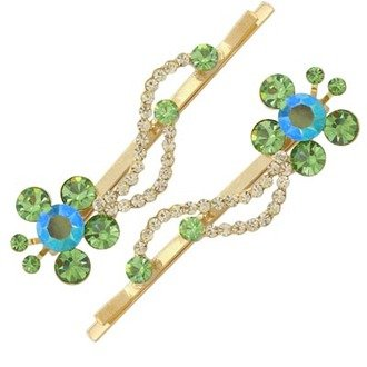 Austrian Crystal Hair Clips (Pair) Jewelry Green NEW