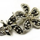 Austrian Crystal Woman Hair Pin Clip Flower 3 Black