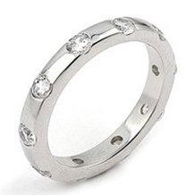 Studded CZ Sterling Silver Band Ring Size 8