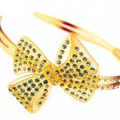 Crystal Studs Acrylic Woman Headband Ribbon Brown