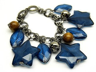 Lucite Star Charm Metal Link Wood Bead Bracelet Blue