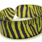 Lucite Bangle Cuff Animal Print Zebra Light Green
