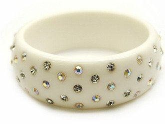 """Crystal Studs Lucite Bangle 1"""" Wide Solid White"""