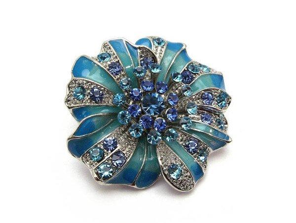 Blue Chuncky Crystal Epoxy Flower Adjustable Ring