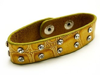 Crystal Studs Leather Look Snap On Bracelet Yellow