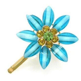 Austrian Crystal Hair Claw Clip Jewelry Blue Green NEW