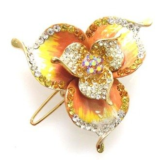 Austrian Crystal Hair Claw Clip Jewelry Gold Yellow NEW
