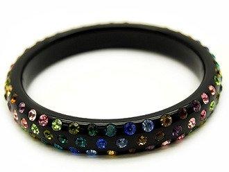 Swarovski Crystal Lucite Bangle Bracelet Black Multi