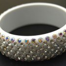 """Austrian Crystal Lucite Bangle 1"""" Wide White"""