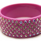 """Austrian Crystal Lucite Bangle 1"""" Wide Pink"""