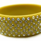 """Austrian Crystal Lucite Bangle 1"""" Wide Mustard Gold"""
