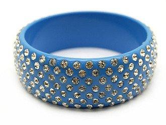 "Austrian Crystal Lucite Bangle 1"" Wide Auqa Blue"