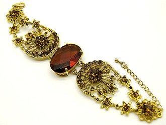 Austrian Crystal Link Bracelet Victorian Gold