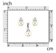 Pearl Set CZ Triangle in Prong 925 Sterling Silver