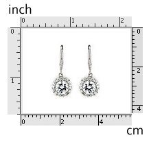 Dangling Round CZ Earrings 925 Sterling Silver