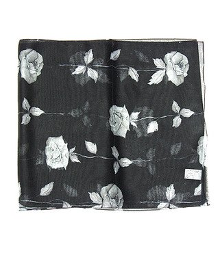 "Woman Chiffon Oblong Scarf Silk Floral Black14""x64"" NEW"