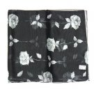 "Woman Chiffon Oblong Scarf Silk Floral Black14""x64"" NEW"