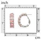 Pink CZ Baguete Earrings 925 Sterling Silver