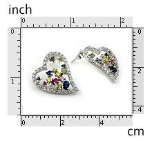 Heart Shape Multi-Color CZ Earring 925 Sterling Silver