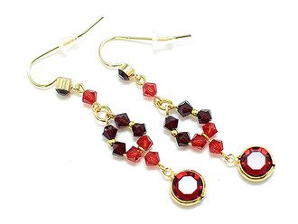 Swarovski Crystal Linear Drop Earrings Ruby Red